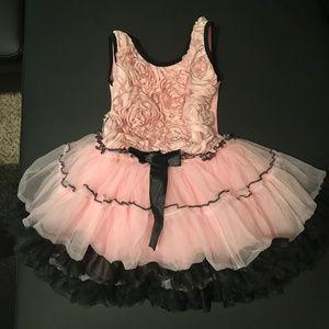 Popatu 4T M Soft Pink Black Dress Rose Ruffle Tutu